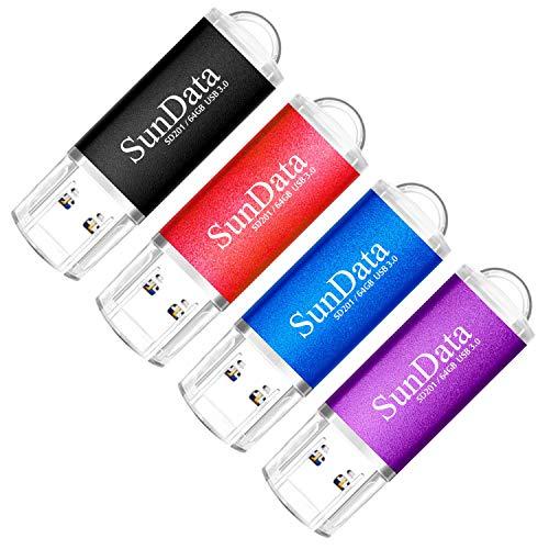 SunData 64GB USB Stick 4 Stück USB 3.0 Speicherstick USB-Flash-laufwerke Memory Stick USB 3.0 bis zu 80MB/Sek, (4 Mischfarben: Schwarz,Blau,Rot,Violett)