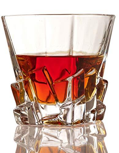 Set of 2 Whiskey Glasses - Iceberg Luxury Elegant The Wine Savant New Style Old Fashioned Drink Glasses - Glassware set - Scotch Brandy or Bourbon Tumblers, 12 oz