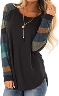 Mujeres Suelto Jersey Suéter Pullover Cárdigan Striped Camiseta Cuello Redondo con Manga Larga Sudadera Cardigan Casual Loose Oversize Jerséis T-Shirt tee Tops Luckycat