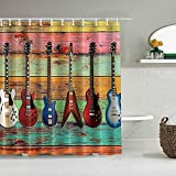 Cortina de Ducha Música Fiesta Guitarras sobre Tablas de Madera rústicas de Colores Forros de baño Impermeables Ganchos incluidos - Ideas Decorativas para el baño Accesorios de Tela de poliéster