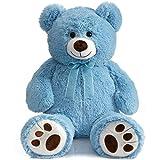 HollyHOME Teddy Bear Stuffed Animal Plush Giant Teddy Bearswith Footprints Big Bear 36 inch Blue