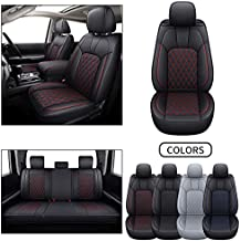 LUCKYMAN CLUB Full Set Tundra Seat Covers Fit 2007-2021 Crew/Crewmax/Extended/Double Cab with Water Proof Faux Leather (Black&Red Full Set)