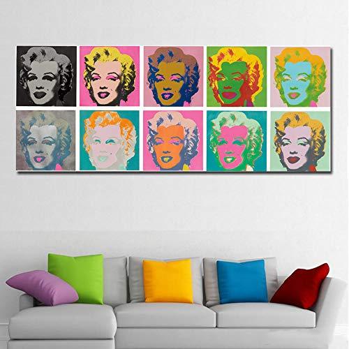 YBGW Kunstdruck Poster Bilder Malerei Wandkunst Andy Warhol Marilyn Monroe Kunstdrucke Natur Wandbilder Malerei Drucke Auf Leinwand Kein Rahmen 30 * 75Cm Kein Rahmen Bilder Poster