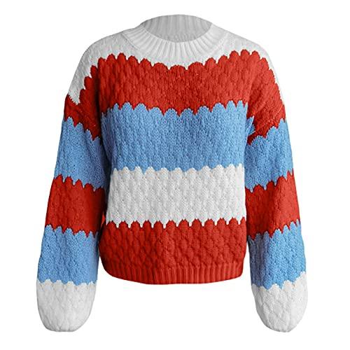 SHOBDW Suéter de Cuello Alto Mujer Estampada Suéter Corto Caliente Sudadera Jersey Invierno Mujer Abrigos Deportivos Talla Grande Liquidación Venta Invierno Mujer(Rojo,L)
