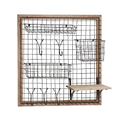 Benzara 97245 The Ingenious Wood Metal Wall Strong Rack