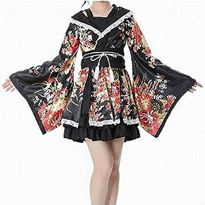 DUHLi Lolita Kimono Cosplay con Falda con Volantes, Flor Sakura ...