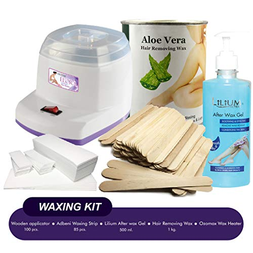 Adbeni The Five Best at Home Waxing Product (Wax-Heater, Waxing Strip, Wooden Applicator and After Wax Gel) GC744