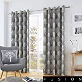 Fusion - Woodland Trees - 100% Cotton Pair of Eyelet Curtains - 66' Width x 72' Drop (168 x 183cm) in Charcoal