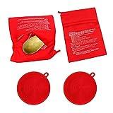 Roucerlin - Borsa riutilizzabile per patate a microonde, lavabile, per cottura di mais al forno, in silicone, per lavapavimenti a doppio lato, per frutta e stoviglie (2 confezioni ciascuno, rosso)