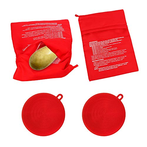Reusable Microwave Potato Bag, Washable Baked Corn Cooking Pouch, Hanging Silicone Vegetable Scrubber, Double Side kitchen Brush for Fruit, Dish Washing (2 Pack Each, Red)