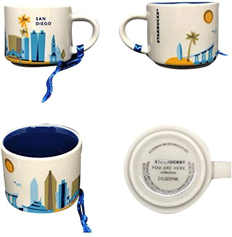 Starbucks Coffee 2016 SAN DIEGO YAH You Are Here Mini Mug 2oz Ornament Cup