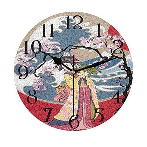 Lerous - Reloj de pared redondo sin garrapatas, reloj silencioso tradicional japonés para mujer, fácil de leer para la escuela, oficina, hogar, cocina, baño, sala de estar, decoración de 30 cm