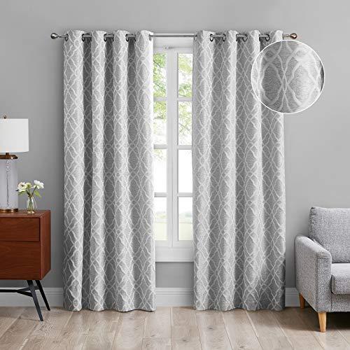 MODERNOVIA 52x96 Inch Light Gray Room Darkening Curtain Grommet Moroccan Geo Jacquard Pattern Drape for Living Room and Bedroom 2 Panels