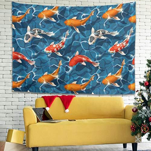 Elucassi Japón Koi Fish - Tapiz colgante para decoración de dormitorio para el hogar, sala de estar, dormitorio, color blanco 40 x 59 pulgadas