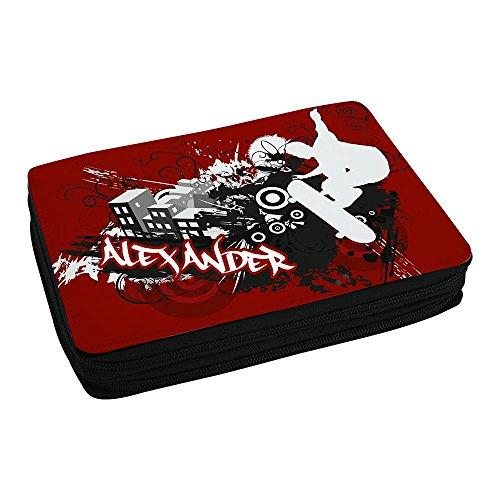 Eurofoto Schul-Mäppchen mit Namen Alexander und Skater-Motiv mit Skateboard und Cooler Graffiti-Schrift - Federmappe mit Vornamen - inkl. Stifte, Lineal, Radierer, Spitzer