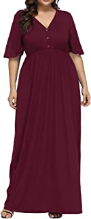 Women's Plus Size V Neck Button Up Maxi Dress Bell Sleeve Beach Long Dresses