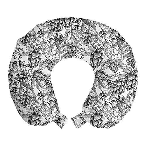 ABAKUHAUS Vintage Botanik Reisekissen Nackenstütze, Bier-Hops Sketch, Schaumstoff Reiseartikel für Flugzeug und Auto, 30x30 cm, Charcoal Grau Weiß