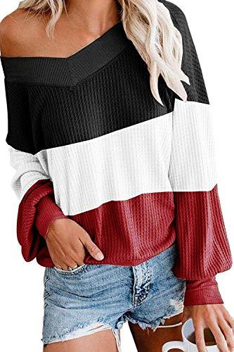 Viottiset Damen Pulli Oversized Schulterfrei V-Ausschnitt Locker Jumper L Schwarz