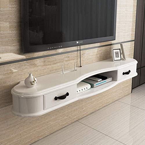 CSD Gabinete TV Media Entretenimiento Consola de Consola de Consola con 2 cajones y Plataformas de Almacenamiento Abierto Muebles de casa (Color : White, Size : L140×D24.4×H14cm)