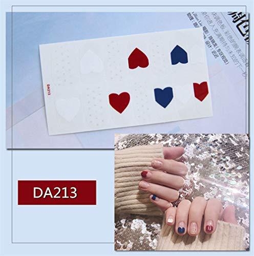 Nagelaufkleber,14 Tipps/Blatt Volle Deckung Wraps Nagellack Sticker Herzen Designs Rot Weiß Blau Nailart Maniküre Tipps