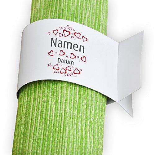 Herz & Heim® Serviettenringe weiß 6x bedruckt mit Namen und Datum zur Hochzeit