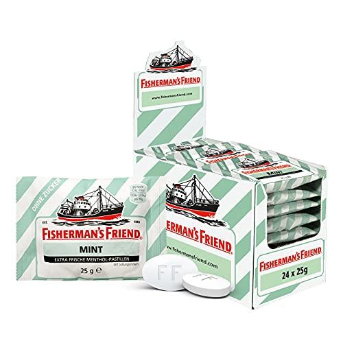 Fisherman's Friend Mint   Karton mit 24 Beuteln   Minze und Menthol Geschmack   Zuckerfrei für...