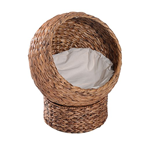 Pawhut Woven Banana Leaf Elevated Cat Bed House Basket Soft Cushion Dome Basket 50 x 42 x 60 cm Brown