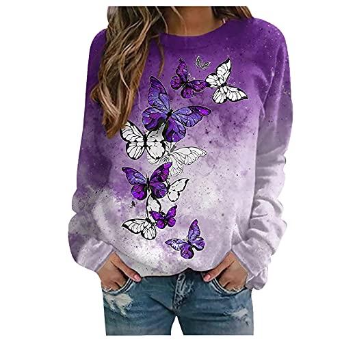 Wave166 Sudadera para mujer con diseño de mariposas, de manga larga, cuello redondo, suelta, moda de calle, regalo para mujeres, morado, L