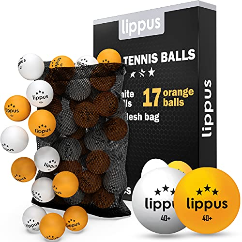 Tischtennisbälle 3 Stern [35 Stück] Set – 18 Weiße & 17 Orange Tischtennis Bälle + AUFBEWAHRUNGSBEUTEL - Ideale Spieleigenschaften - Nach Wettbewerbsrichtlinien produziert