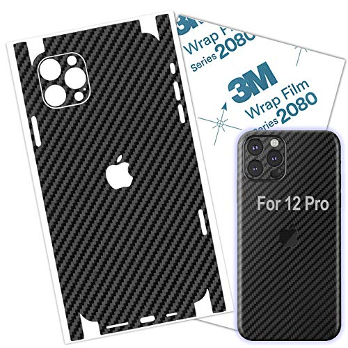 Carbon Fiber 3M Film for iPhone 12 PRO Skin Wrap Protective Around Borders and Back Thin 3D Elegant Skin (for 12 PRO)