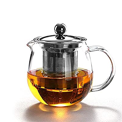 HKKAIS 22 oz / 650 ml glass teapot with removable infuser teabloom stovetop & microwave safe borosilicate clear large glass teapot