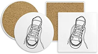 White Canvas Shoes Painted Coaster Cup Mug Holder Absorbent Stone Cork Base Sets