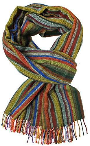 Rotfuchs Echarpe hiver à rayures et chevrons pour hommes à la mode 100% laine (Mérinos) (52 x 195, verte, colorée)