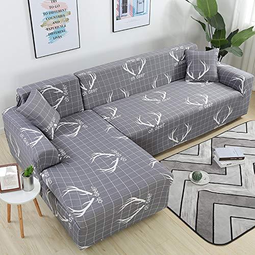 WXQY Sala de Estar Cubierta de sofá Floral elástico sección elástica sillón de Esquina Chaise Longue Funda de sofá A4 2 plazas