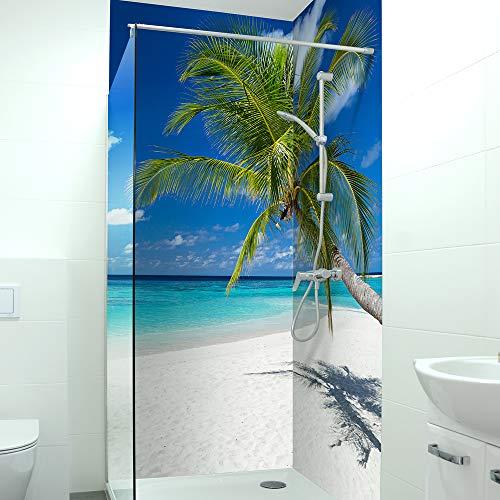 druck-expert.com Premium Duschrückwand - langlebiger Fliesensticker aus 0,4 mm selbstklebenden Hart-PVC - kratzfester Fliesenaufkleber - pflegeleicht, Größe:2 x B 103 x H 240 cm, Motiv:Palmen Strand