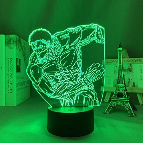 Lámpara 3D Anime Figura Ilusión Luz Ataque a Titán El Titán Blindado LED Manga/Neon Nightlight para decoración de dormitorio, iluminación de mesa para regalo de cumpleaños. 7 cambios de color