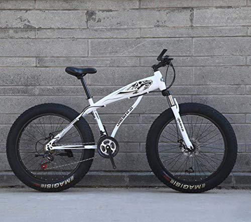 YANGHAO-Bicicleta de montaña para adultos- Bicicleta de nieve, 26 '/ 24' Bicicleta de montaña de la rueda grande, freno de doble disco de 7 velocidades, Fuerte bifurcación frontal de amortiguador, bic
