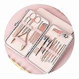 AueDsa 16 PCS Set de Manicura Pedicura Set de Cortauñas Hombre Mujer Kit Pedicura Acero Inoxidable Oro Rosa