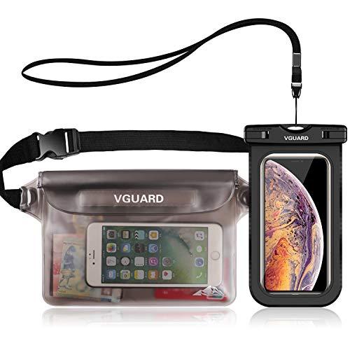 VGUARD Kit Impermeabile con Borsa Impermeabile Sacca Impermeabile Marsupio e Custodia Impermeabile Smartphone per Sport Pesca Vela Escursione, Proteggere Il Tuo Cellulare, Portafoglio, ECC (Grigio)