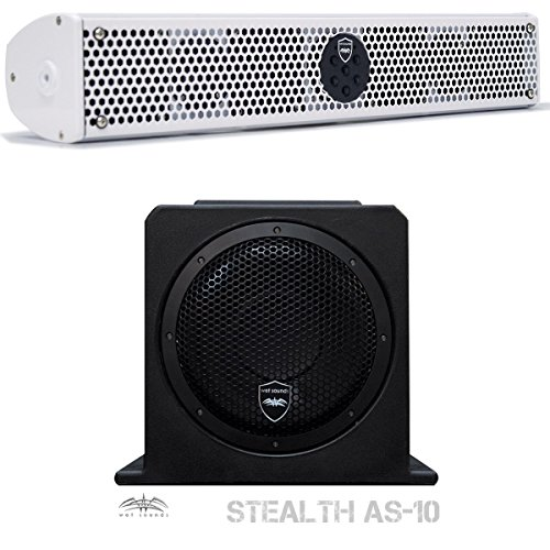 """Wet Sounds Stealth Package - White Stealth 6 Ultra 200 Watt Sound Bar and AS-10 10"""" 500 Watt Powered Stealth Subwoofer"""
