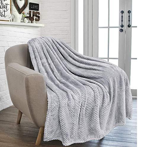 RayyanLinen - Coperta a pettine a nido d'ape, super morbida e versatile, per divano letto da viaggio (grigio argento, matrimoniale – 150 x 200 cm)