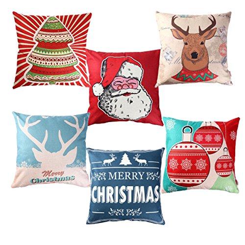 Unomor, set di 6 federe per divano letto, a tema natalizio, 45x 45cm
