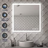 SL4U 38x38 Inch LED Lighted Bathroom Wall Mounted Vanity Mirror, Light Control and Adjustable Color Temperature Yellow-to-White Lights, Anti-Fog | YSJ-A008