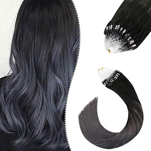 Haarverlangerung Remy Echthaar Strahnen Microring Unsichtbar Naturlich Schwarz Balayage Silber 20 Zoll Micro Bead Loop Hair Extensions 50 Gramm 1G/S