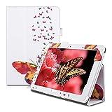 kwmobile Hülle kompatibel mit Acer Iconia Tab 10 (A3-A20) - Slim Tablet Cover Case Schutzhülle mit Ständer Mehrfarbig Pink Weiß