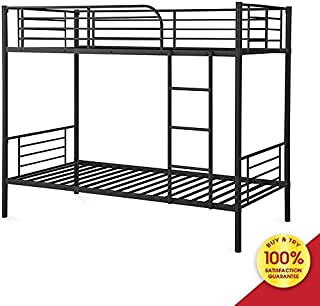 Modern Metal Steel Frame 400 lb Heavy Duty with Stairs Side Guard Rails 10.8 inch Storage Space No Box Spring Needed 2 Platform for Kids Teens Adults Bunk Bed Twin Over, BlackD