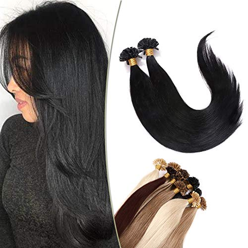 Bondings Extensions Echthaar - (1g/Strähne) Haarverlängerung Keratin U-Tip Remy Human Haar 100 Strähnen Schwarz#1 22'(56cm)