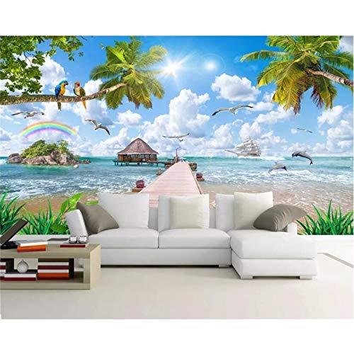 Pmhhc Papier Peint Personnalisé Mur De Noix De Coco Perroquet Paysage Marin Peinture De Paysage De Noix De Coco Salon Tv Fond 3D Papier Peint-280X200Cm