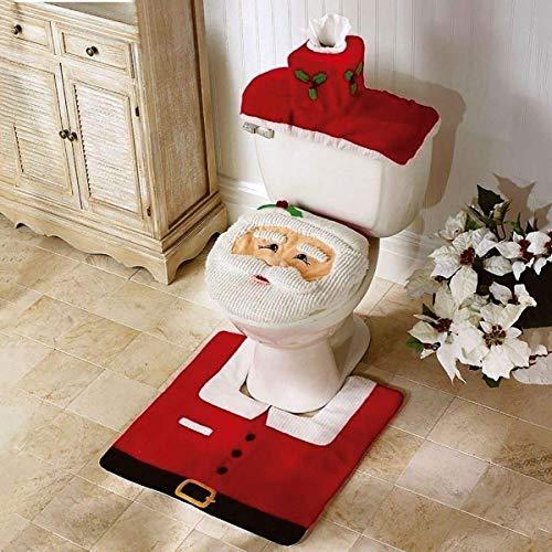 QIEP - Set di 3 copriwater con decorazione natalizia, per vasche e tappeti, per decorare il bagno, con Babbo Natale