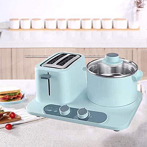 Máquinas de pan eléctricas 3 en 1,estación de desayuno de 2 rebanadas,ranura ancha,sartén multifuncional pequeña de acero inoxidable para el hogar multifuncional para huevos,azul20 (color:azul) xiao12